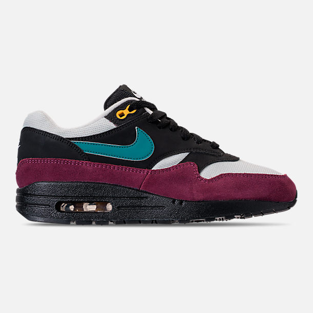 Right view of Women's Nike Air Max 1 Casual Shoes in Black/Geode Teal/Light Silver/Bordeaux
