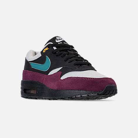 Three Quarter view of Women's Nike Air Max 1 Casual Shoes in Black/Geode Teal/Light Silver/Bordeaux