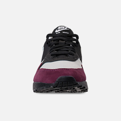 Front view of Women's Nike Air Max 1 Casual Shoes in Black/Geode Teal/Light Silver/Bordeaux