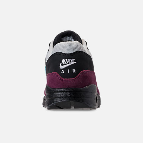 Back view of Women's Nike Air Max 1 Casual Shoes in Black/Geode Teal/Light Silver/Bordeaux