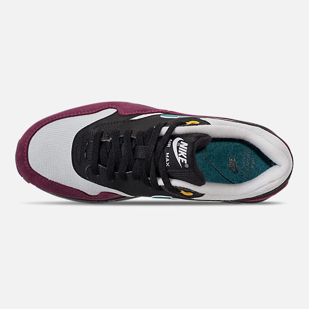 Top view of Women's Nike Air Max 1 Casual Shoes in Black/Geode Teal/Light Silver/Bordeaux