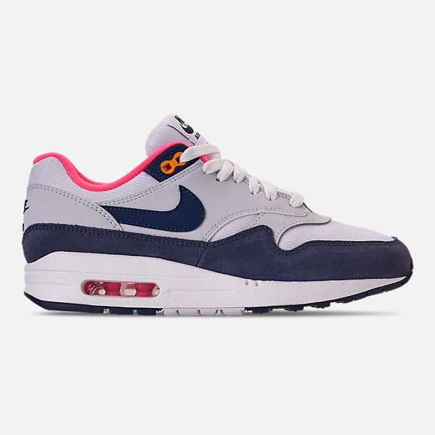 Right view of Women's Nike Air Max 1 Casual Shoes in White/Midnight Navy/Pure Platinum