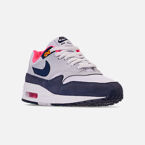 Three Quarter view of Women's Nike Air Max 1 Casual Shoes in White/Midnight Navy/Pure Platinum