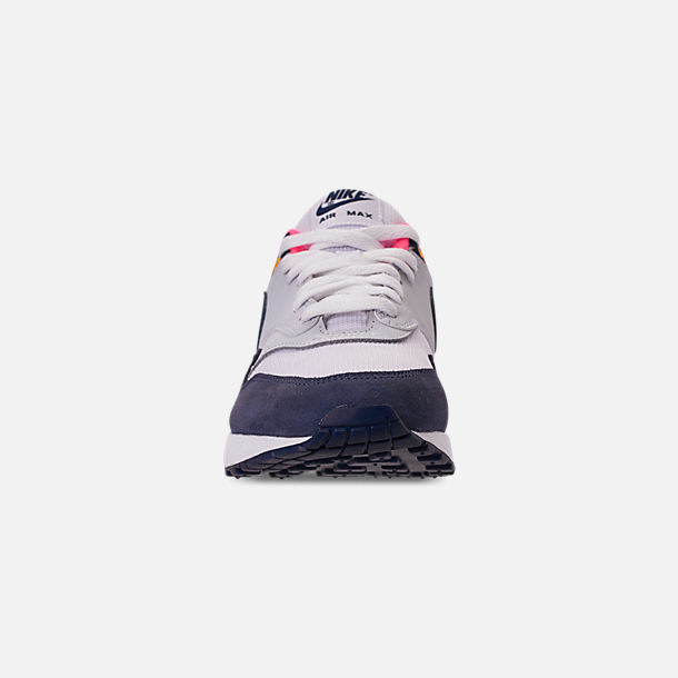 Front view of Women's Nike Air Max 1 Casual Shoes in White/Midnight Navy/Pure Platinum