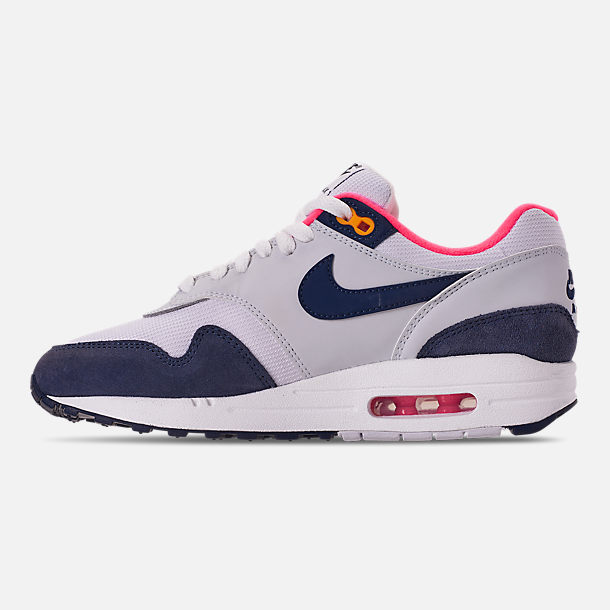 Left view of Women's Nike Air Max 1 Casual Shoes in White/Midnight Navy/Pure Platinum