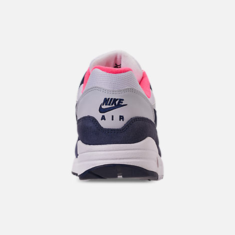 Back view of Women's Nike Air Max 1 Casual Shoes in White/Midnight Navy/Pure Platinum