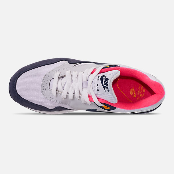 Top view of Women's Nike Air Max 1 Casual Shoes in White/Midnight Navy/Pure Platinum