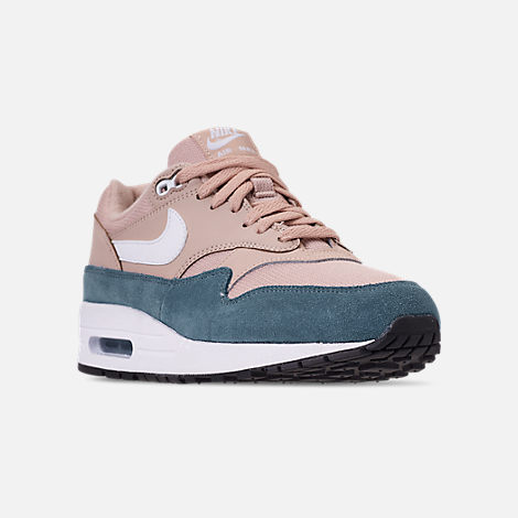 Three Quarter view of Women's Nike Air Max 1 Casual Shoes in Celestial Teal/White/Particle Beige