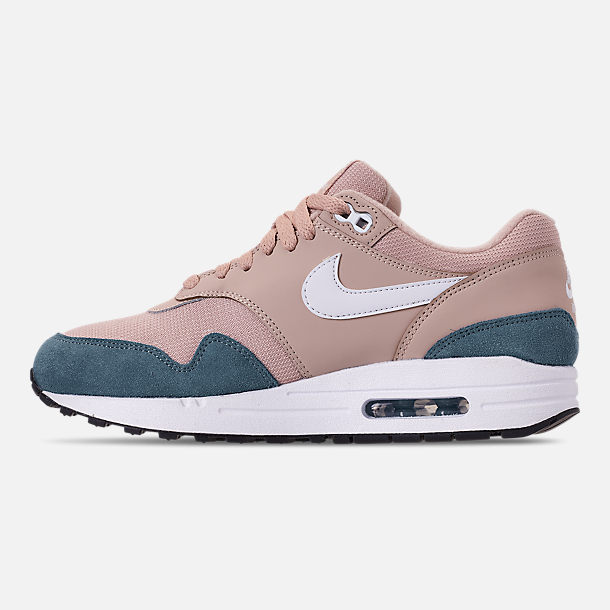 Left view of Women's Nike Air Max 1 Casual Shoes in Celestial Teal/White/Particle Beige