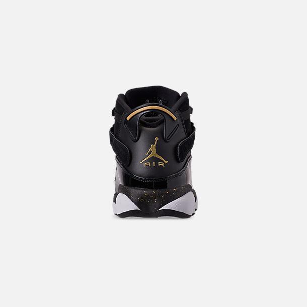 24e00f28d87 Back view of Men's Air Jordan 6 Rings Basketball Shoes in Black/Metallic  Gold