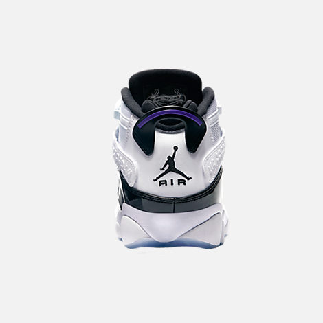 7e8475a4437 Back view of Men s Air Jordan 6 Rings Basketball Shoes in White Black  Concord