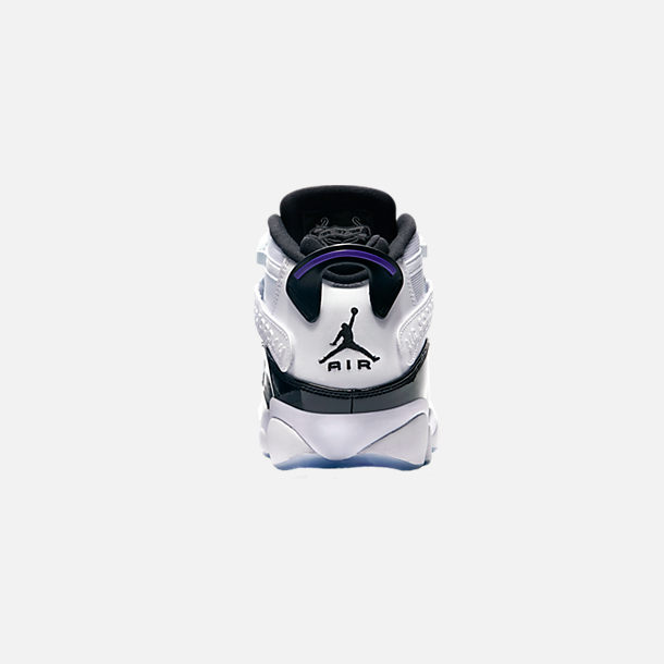 promo code 01284 6113f Back view of Men s Air Jordan 6 Rings Basketball Shoes in White Black  Concord