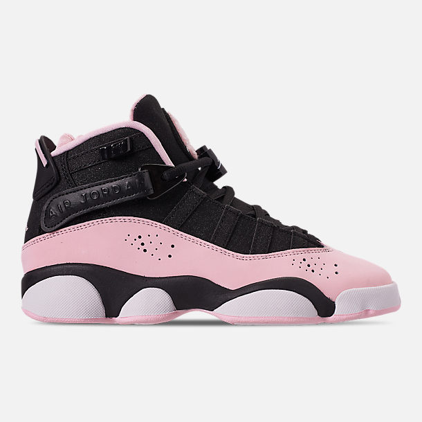 Right view of Girls' Big Kids' Jordan 6 Rings (3.5y-9.5y) Basketball Shoes in Black/Pink Foam/Anthracite/White
