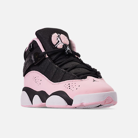Three Quarter view of Girls' Big Kids' Jordan 6 Rings (3.5y-9.5y) Basketball Shoes in Black/Pink Foam/Anthracite/White