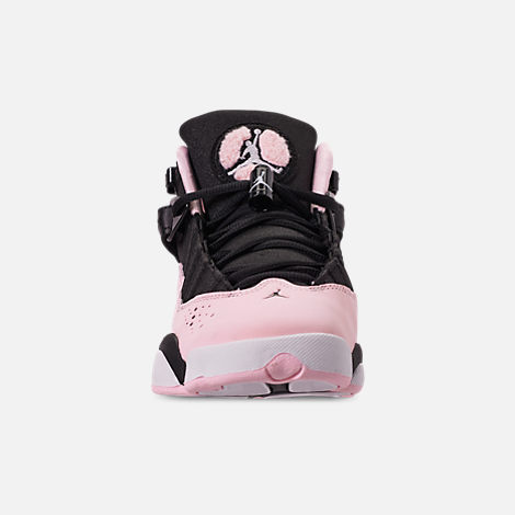 Front view of Girls' Big Kids' Jordan 6 Rings (3.5y-9.5y) Basketball Shoes in Black/Pink Foam/Anthracite/White
