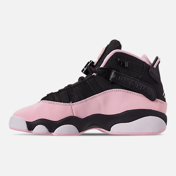 Left view of Girls' Big Kids' Jordan 6 Rings (3.5y-9.5y) Basketball Shoes in Black/Pink Foam/Anthracite/White