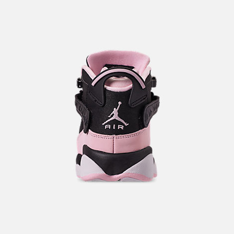 Back view of Girls' Big Kids' Jordan 6 Rings (3.5y-9.5y) Basketball Shoes in Black/Pink Foam/Anthracite/White