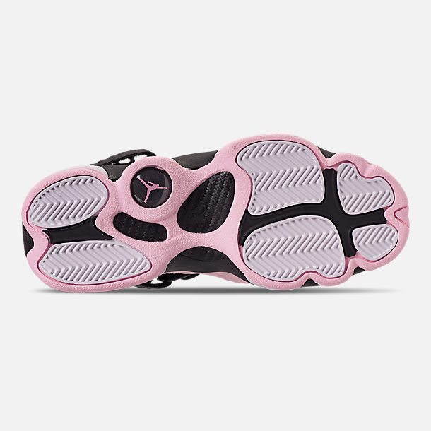Bottom view of Girls' Big Kids' Jordan 6 Rings (3.5y-9.5y) Basketball Shoes in Black/Pink Foam/Anthracite/White