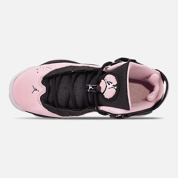 Top view of Girls' Big Kids' Jordan 6 Rings (3.5y-9.5y) Basketball Shoes in Black/Pink Foam/Anthracite/White