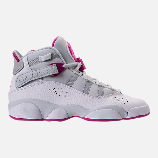 Right view of Girls' Grade School Jordan 6 Rings (3.5y-9.5y) Basketball Shoes in Pure Platinum/Fuchsia Blast/White