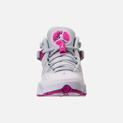 Front view of Girls' Grade School Jordan 6 Rings (3.5y-9.5y) Basketball Shoes in Pure Platinum/Fuchsia Blast/White