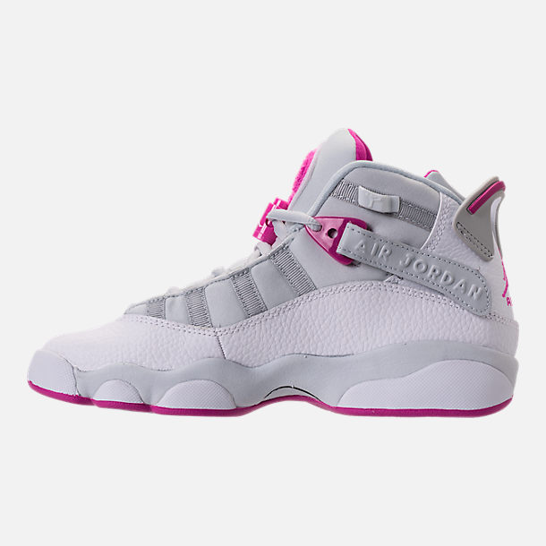 Left view of Girls' Grade School Jordan 6 Rings (3.5y-9.5y) Basketball Shoes in Pure Platinum/Fuchsia Blast/White