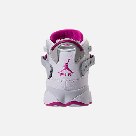 Back view of Girls' Grade School Jordan 6 Rings (3.5y-9.5y) Basketball Shoes in Pure Platinum/Fuchsia Blast/White