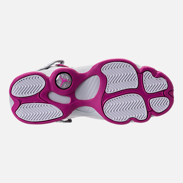 Bottom view of Girls' Grade School Jordan 6 Rings (3.5y-9.5y) Basketball Shoes in Pure Platinum/Fuchsia Blast/White