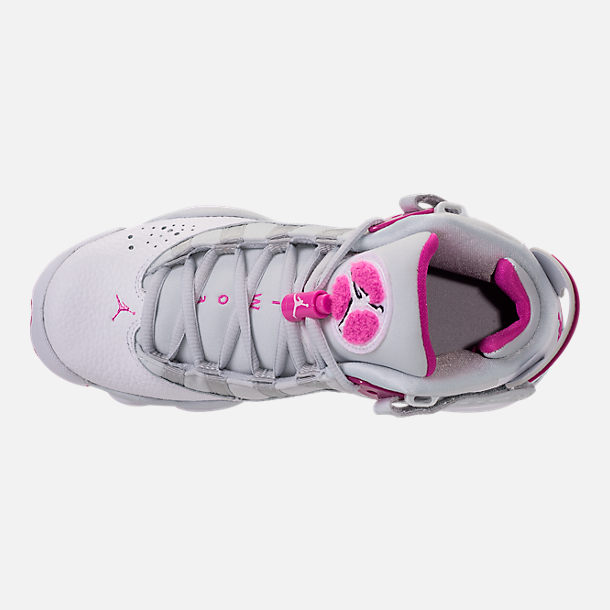 Top view of Girls' Grade School Jordan 6 Rings (3.5y-9.5y) Basketball Shoes in Pure Platinum/Fuchsia Blast/White