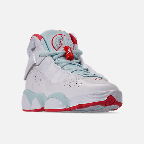 half off b4f90 ea5cf Three Quarter view of Girls  Big Kids  Jordan 6 Rings Basketball Shoes in  White