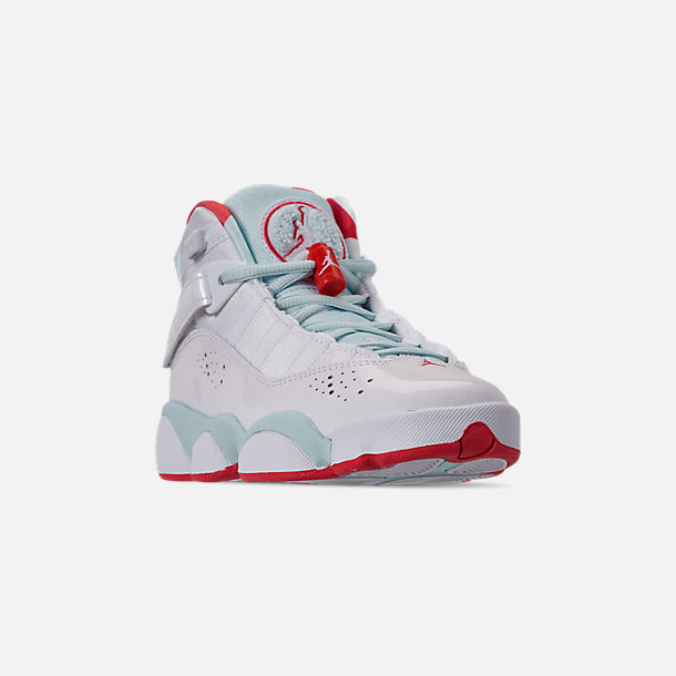 Three Quarter view of Girls' Big Kids' Jordan 6 Rings Basketball Shoes in White/Ember Glow/Topaz Mist