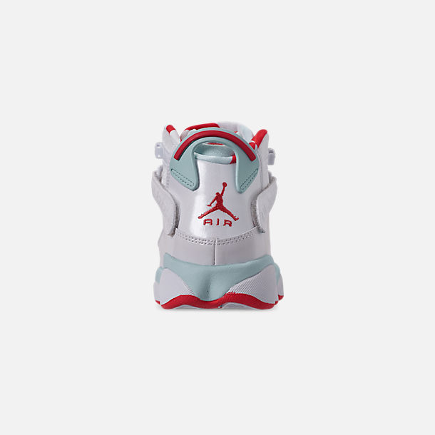 Back view of Girls' Big Kids' Jordan 6 Rings Basketball Shoes in White/Ember Glow/Topaz Mist