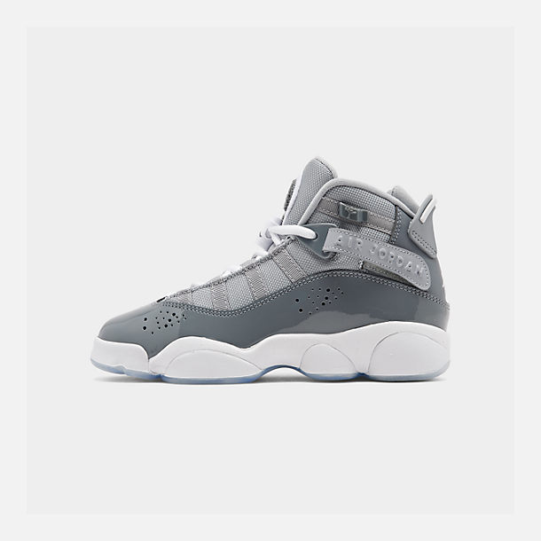 Right view of Boys' Big Kids' Jordan 6 Rings Basketball Shoes in Cool Grey/White/Wolf Grey