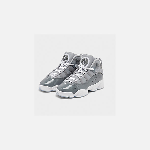 Three Quarter view of Boys' Big Kids' Jordan 6 Rings Basketball Shoes in Cool Grey/White/Wolf Grey