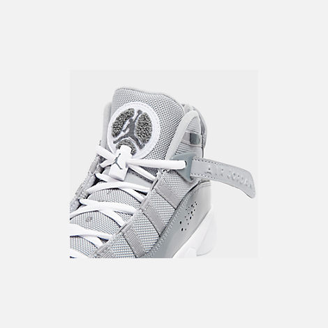 Front view of Boys' Big Kids' Jordan 6 Rings Basketball Shoes in Cool Grey/White/Wolf Grey
