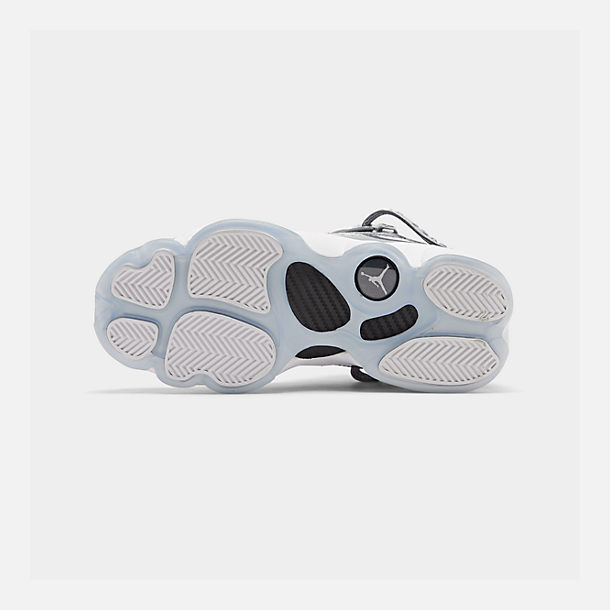 Bottom view of Boys' Big Kids' Jordan 6 Rings Basketball Shoes in Cool Grey/White/Wolf Grey
