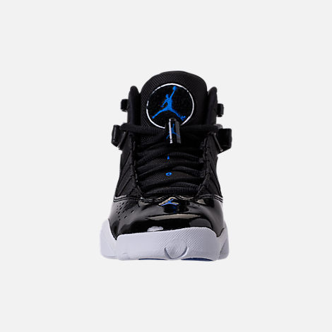 Front view of Big Kids' Jordan 6 Rings Basketball Shoes in Black/Hyper Cobalt/White
