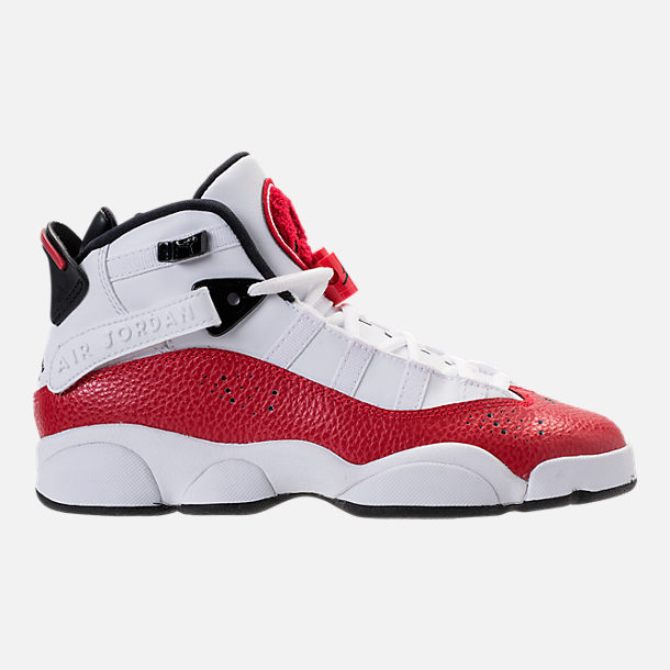 Right view of Big Kids' Jordan 6 Rings Basketball Shoes in White/Black/University Red