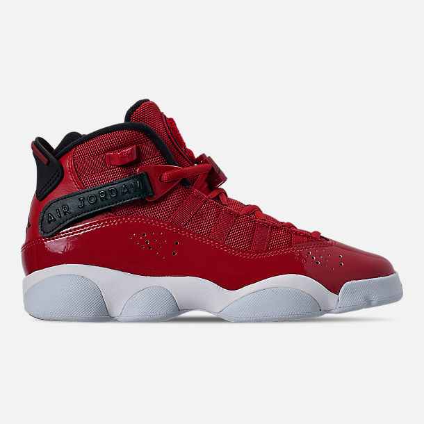 Right view of Boys' Big Kids' Jordan 6 Rings Basketball Shoes in Gym Red/Black/White