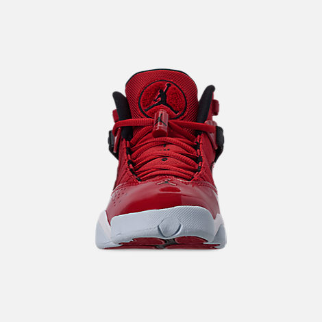 Front view of Boys' Big Kids' Jordan 6 Rings Basketball Shoes in Gym Red/Black/White