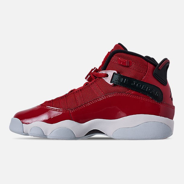 Left view of Boys' Big Kids' Jordan 6 Rings Basketball Shoes in Gym Red/Black/White