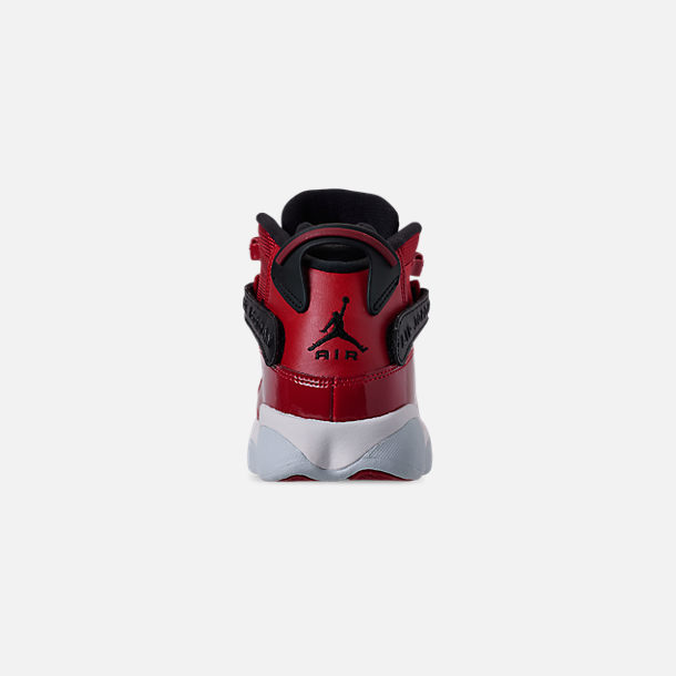 Back view of Boys' Big Kids' Jordan 6 Rings Basketball Shoes in Gym Red/Black/White