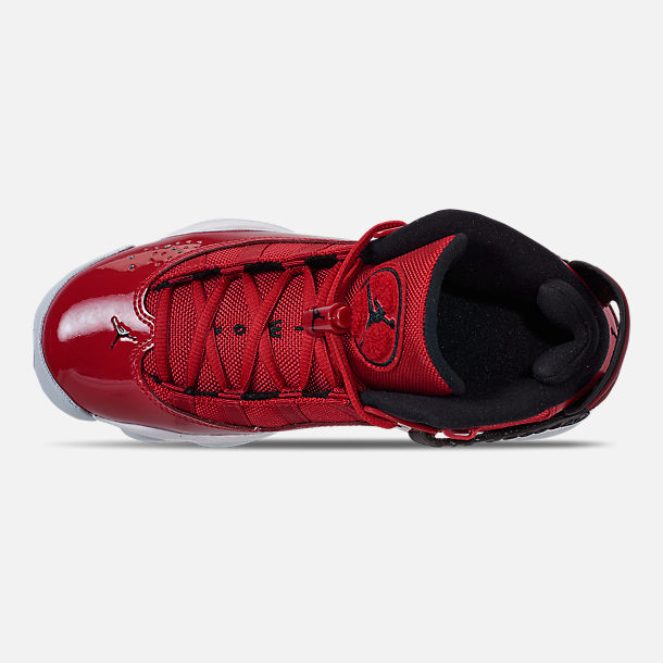 Top view of Boys' Big Kids' Jordan 6 Rings Basketball Shoes in Gym Red/Black/White