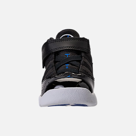 Front view of Boys' Toddler Air Jordan 6 Rings Basketball Shoes in Black/Hyper Royal/White