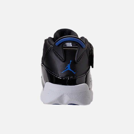 Back view of Boys' Toddler Air Jordan 6 Rings Basketball Shoes in Black/Hyper Royal/White