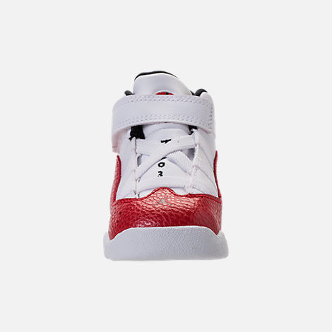 Front view of Boys' Toddler Air Jordan 6 Rings Basketball Shoes in White/Black/University Red