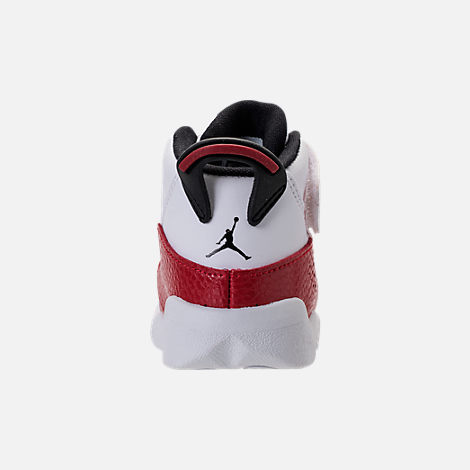 Back view of Boys' Toddler Air Jordan 6 Rings Basketball Shoes in White/Black/University Red