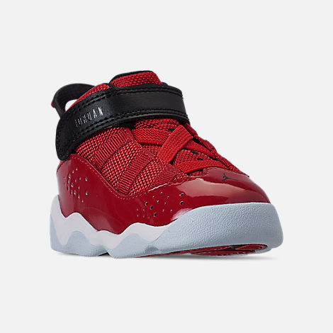 875b9956f814c8 Three Quarter view of Boys  Toddler Air Jordan 6 Rings Basketball Shoes in Gym  Red
