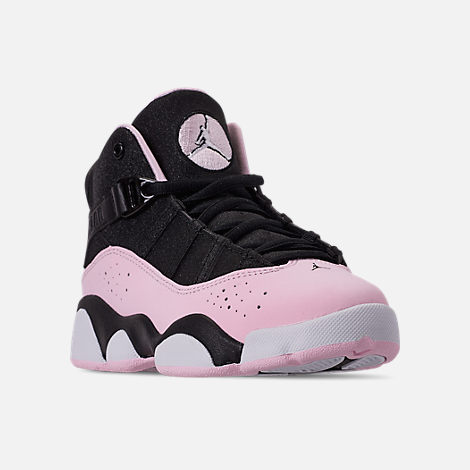 Three Quarter view of Girls' Little Kids' Air Jordan 6 Rings Basketball Shoes in Black/Pink Foam/Anthracite/White