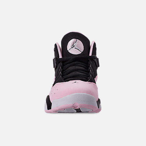 Front view of Girls' Little Kids' Air Jordan 6 Rings Basketball Shoes in Black/Pink Foam/Anthracite/White